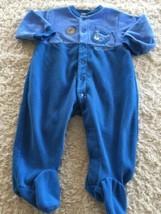 Carters Boys Blue Football Lion Fleece Long Sleeve Pajamas 9 Months - $5.00