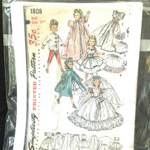 Vintage 1956 Simplicity Printed Pattern Doll Size 21 Inches #1808  - $37.62