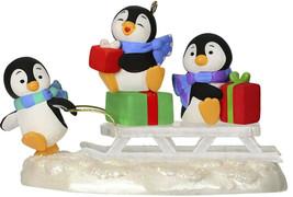 Hallmark  Sledding Shenanigans  3 Penguins on Sled  Keepsake Ornament  2019 - $20.68
