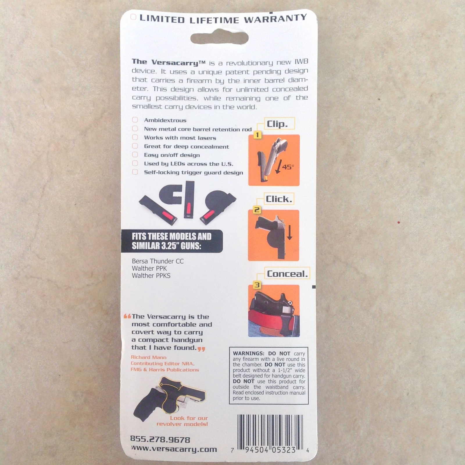 "Versacarry .380 Small Zero Bulk IWB Concealment Holster fits 3.25"" Barrel NIB"