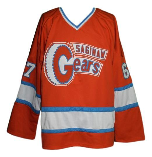 Saginaw gears retro hockey jersey 1973 orange   1