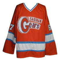 Any Name Number Saginaw Gears Retro Hockey Jersey Orange Any Size image 1