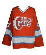 Custom Name # Saginaw Gears Retro Hockey Jersey 1973 New Orange Any Size - $54.99+