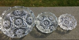 "3 Early American Prescut EAPC Ashtrays Large 7-3/4"", Medium 5"" & Small 4"" - $12.86"
