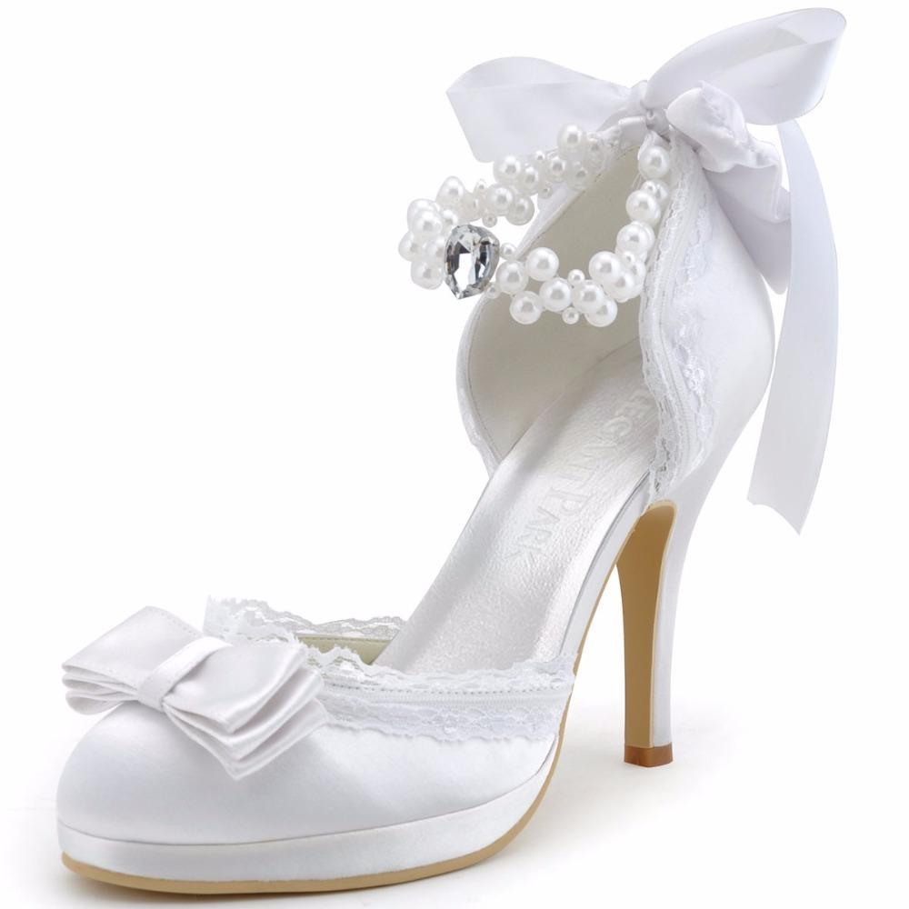 Ivory or white Closed Toe Bridal shoes, Satin Lace and pearl Sexy Bridal Heels - $99.99