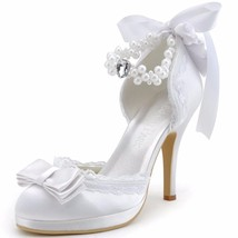 Ivory or white Closed Toe Bridal shoes, Satin Lace and pearl Sexy Bridal... - $99.99+