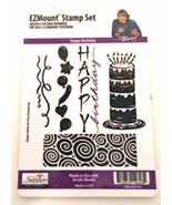 EZ Mount Stamp Set Happy Birthday Five Rubber Stamps Kit Made in USA  - $6.92