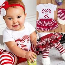 Newborn Kids Baby Girl Romper Tops+Leg Warmers+Tutu Skirts Xmas Clothes ... - $31.40