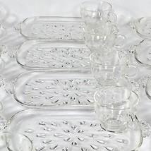 Hazel Atlas Set of 4 Teardrop Crystal Luncheon Plates with Cups Smoke Si... - $25.00