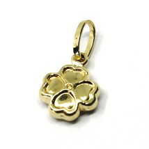 ROUNDED 18K YELLOW GOLD MINI FOUR LEAF CLOVER PENDANT, SMOOTH 11mm, 0.43 inches image 1