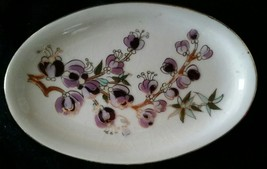 Zsolnay Hungary Hand Painted Purple Floral Oval Pin Tray Dresser Dish  F... - $16.95