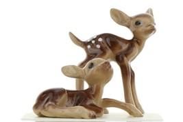 Hagen Renaker Miniature Deer Baby Fawn Standing & Lying Ceramic Figurine Set