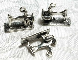 SEWING MACHINE FINE PEWTER PENDANT CHARM - 19x16x8mm image 1