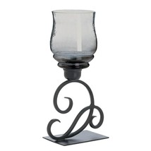 glass candle stand, standing outdoor Smoked Glass Cursive metal candle s... - £25.78 GBP