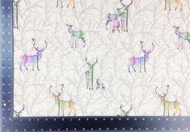 Iridescent Winter Stags Linen Look Fabric Material *3 Sizes* - $1.79+