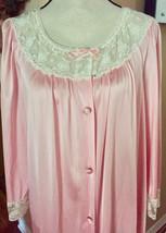 Vintage VANITY FAIR Robe Long Pink w/ Lace Details Peignoir SZ M - ₨971.83 INR