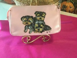 THREE YORKIES HAND PAINTED LEATHER POUCH WALLET SUPER!! - $150.00