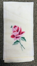 Hand Stitched Guest Bathroom Hand Towel Vintage Yellow Pink Fuschia Floral - $29.37