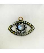 Color Diamond Pave Evil Eye Pendant 925 Sterling Silver Gemstone Gold Jewelry - $383.35