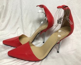 BCBG MAXAZRIA SHOES  Pumps Sandals orange clear heel straps 9/39 - $29.92
