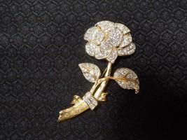 Vintage Designer Nolan Miller Gold Tone Rhinestone Rose Flower Brooch - $49.49