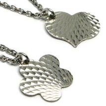 Ankle Bracelet White Gold 18K 750 Rolo Chain Heart & Flower Pendants, 23 CM image 3