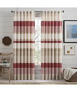 Lakeside Stripe Rod Pocket Window Curtain Panels in Red 84 in Set of 2 - $49.49