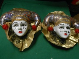 "Great Collectible TWO ""Clown"" Face ceramic WALL HANGERS - $12.46"