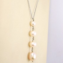 Necklace White Gold 18K, Pendant Pearls Pink, round and Drop, Chain Rolo ' image 2