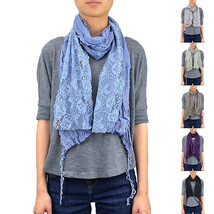 Lace Scarf Long Wave Bubble Fringe Embroidery Two Layer Sewed On Tassel ... - $7.45