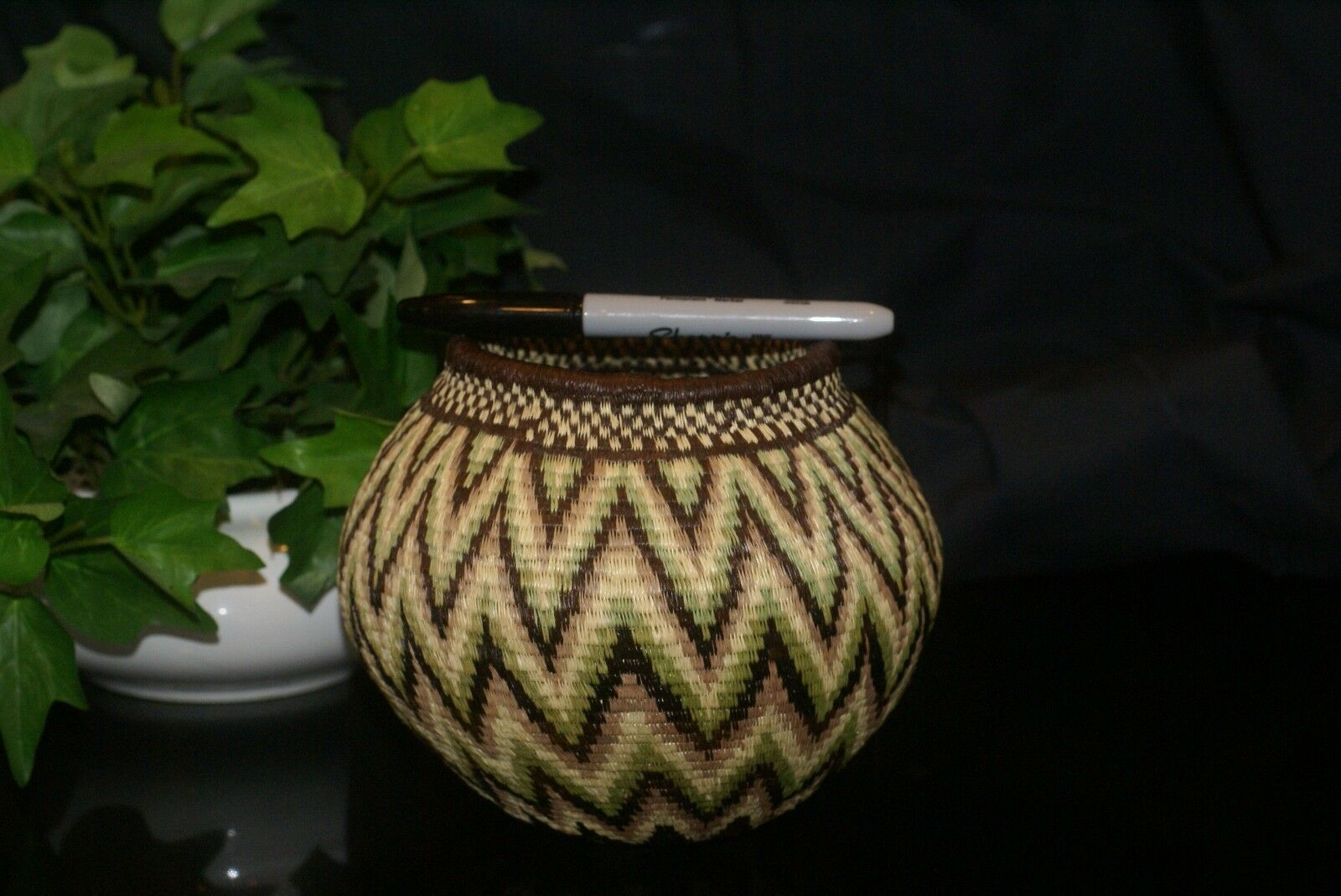 Authentic Panama Rainforest Wounaan Indian Hösig Di Motif Artist Basket 300A20 -