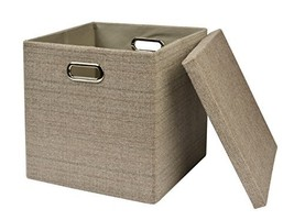 "Collapsible Storage Cubes Bins 13""x13""13"", Foldable Heavy-Duty Burlap Fa... - $24.86"