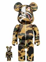 Mastermind Vs Bape Be@Rbrick 100% & 400% Yellow Medicom Toy A Bathing Ape Shark - $921.68