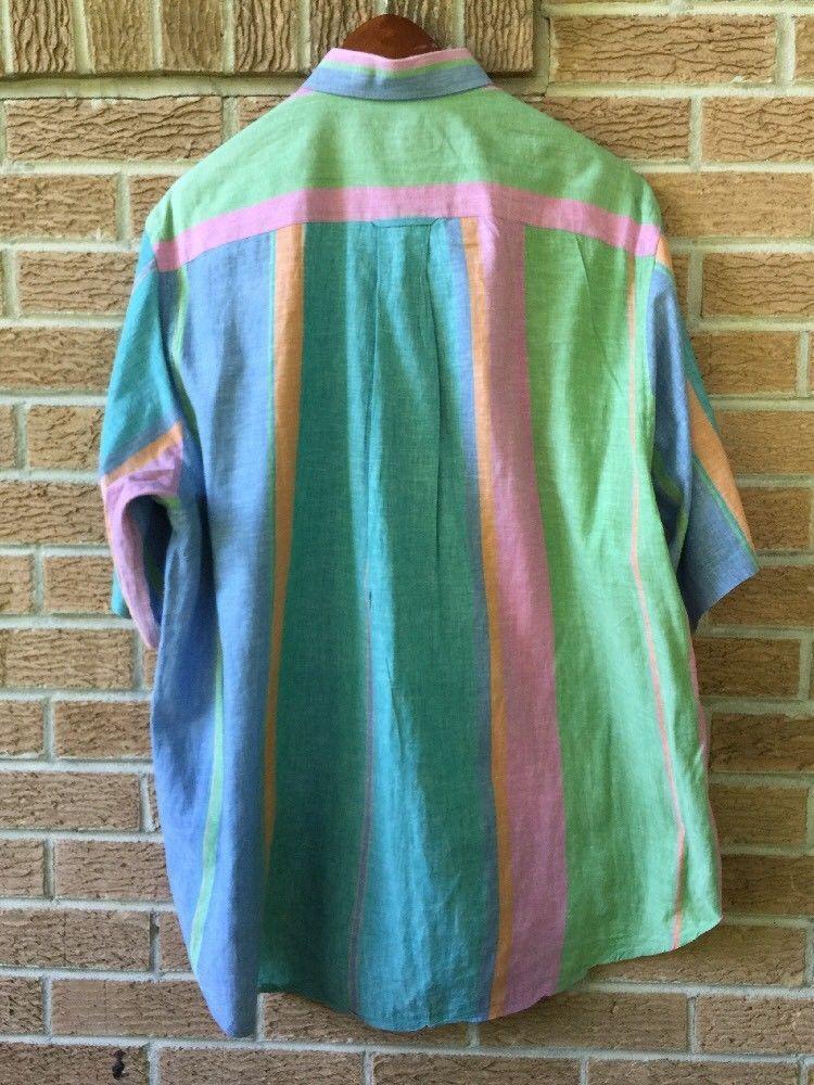 Nautica XL Button Front Shirt Short Sleeve Open Pocket Stripe Pink Green G23