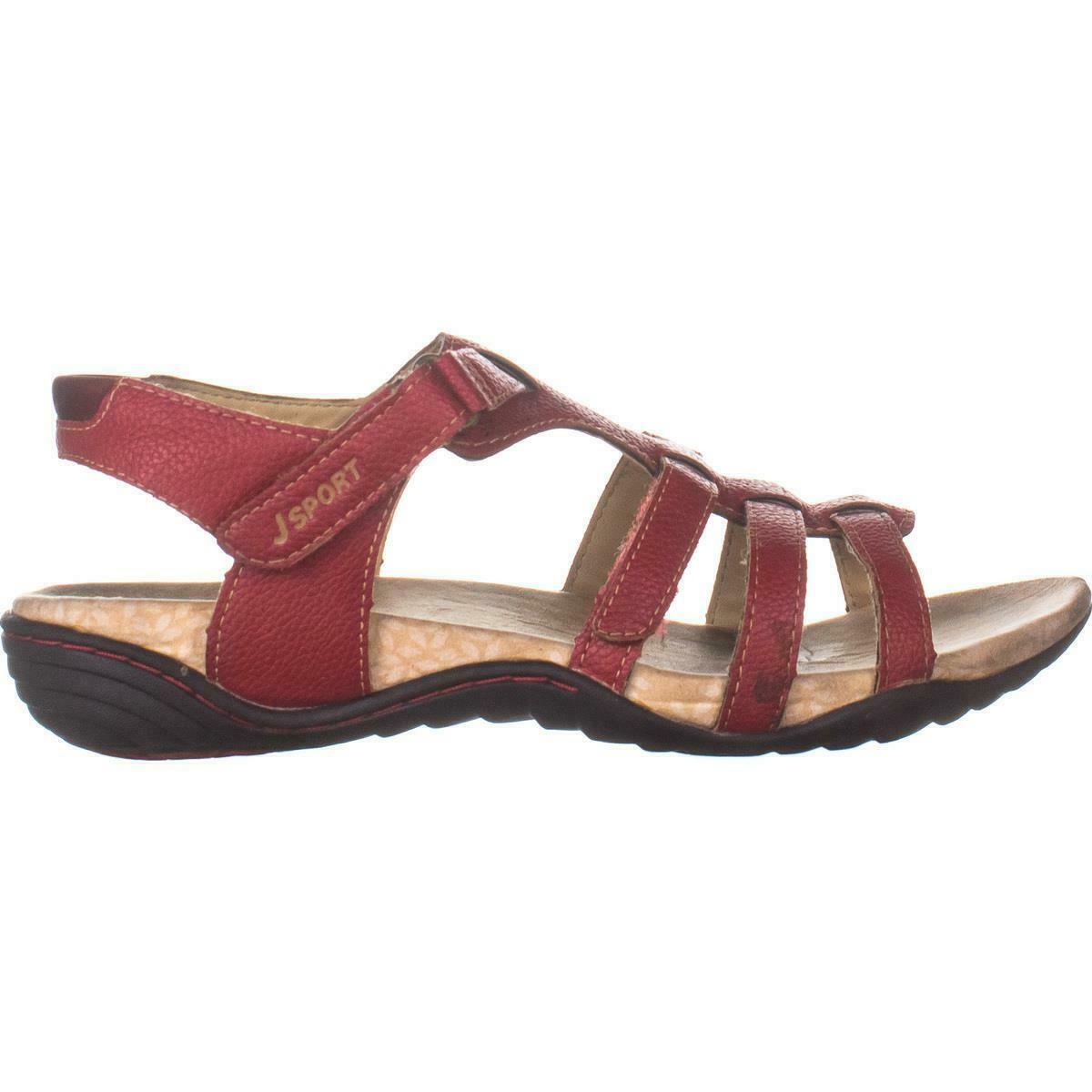 JSport by Jambu Mia Flat Sport Sandals 116, Red, 7.5 US ...