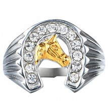 Mens Stainless Steel Horse Head Cubic Zirconia Hip-Hop Fashion Ring Size... - $8.99