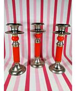 Fabulous Vintage Boho 3pc MoD Orange Candlestick Trio Stamped Silver Det... - $28.00
