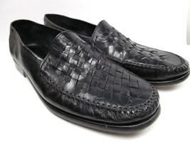 Alfani  Italian Leather Woven Shoes Basket Weave Black Loafers Mens Size 13 - $28.71