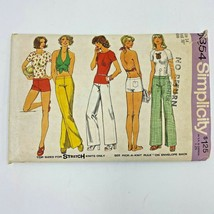 Vintage 1970s Simplicity Pattern 6354 Halter Top Hip Hugger Pants Shorts... - $9.95