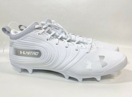 Nwob Under Armour Adult Nitro Mid Mc Football Cleats Sz 12 White 3000181-100 - $39.59