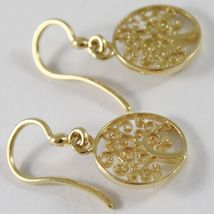 Yellow Gold Earrings 750 18k 2.4 cm pending, Tree of Life, Circle, Italy image 3