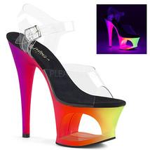"PLEASER Sexy 7"" Heel Neon UV Reactive Cutout Platform Ankle Strap Stripp... - $52.95"