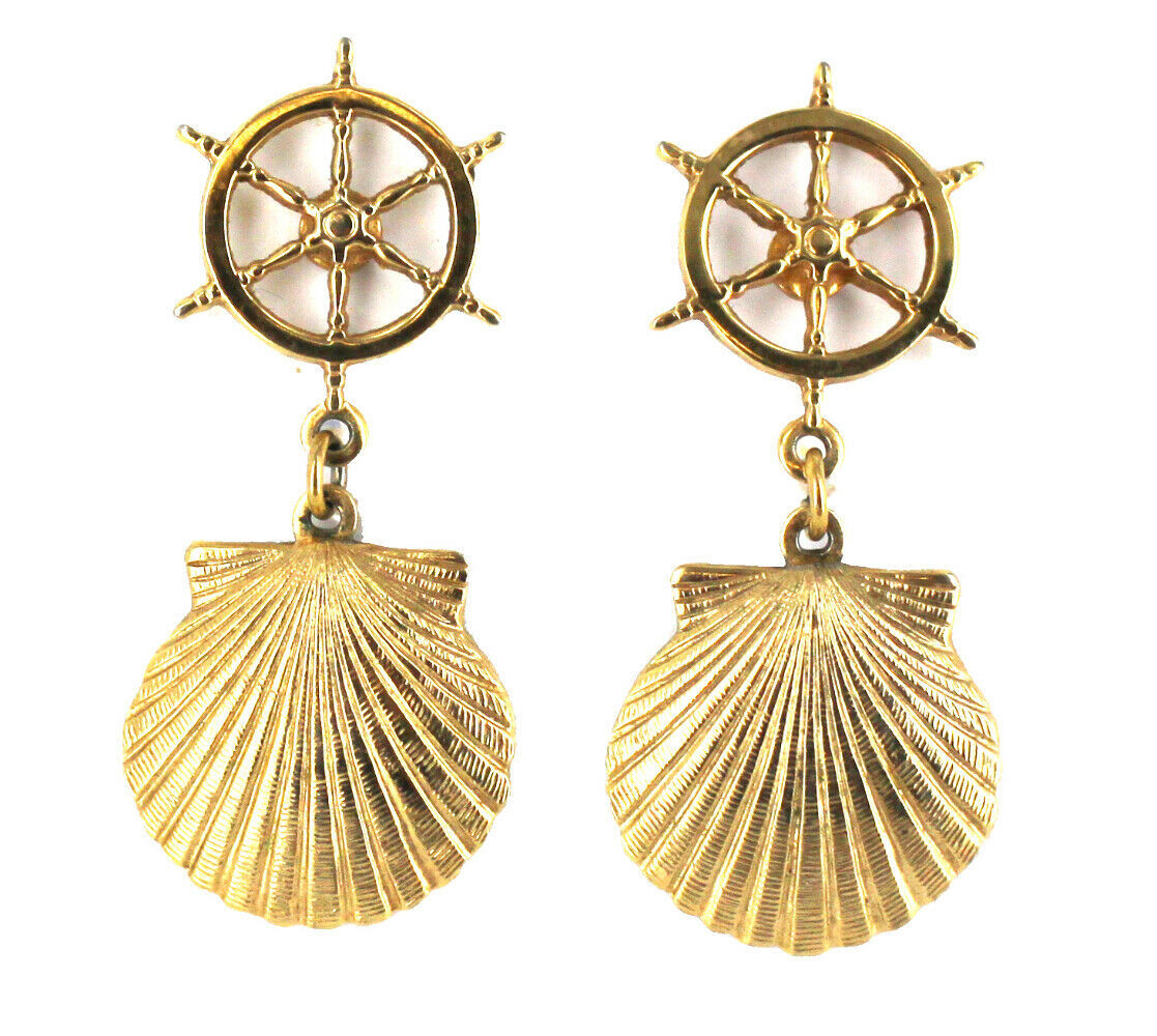 Vintage Ship Wheel & Scallop Shell Nautical Dangle Drop Post Earrings Soft Gold - $41.39