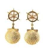Vintage Ship Wheel & Scallop Shell Nautical Dangle Drop Post Earrings So... - £33.23 GBP