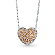 0.15Cts Pink Diamond Pave Pendant Necklace Set in 18K White Rose Gold - £1,881.26 GBP