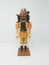 Vintage wooden large cowboy nutcracker Christmas statue moving mouth bro... - $44.55