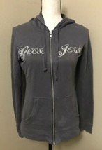 Guess Jeans Gray Zip Up Hoodie Cotton Polyester Rhinestone Letters Women... - $15.47