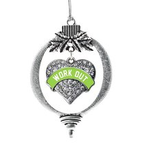 Inspired Silver Green Workout Pave Heart Holiday Ornament - $14.69
