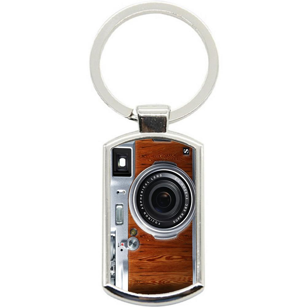 KeyRing Stainless Steel Key Chain Ring - Woodgrain Camera Y01135