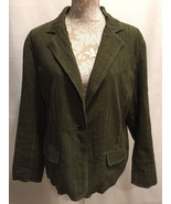 CHICO'S WOMEN OLIVE GREEN PLEATED CRINKLE CAREER WORK BLAZER JACKET SIZE 2 - $24.99